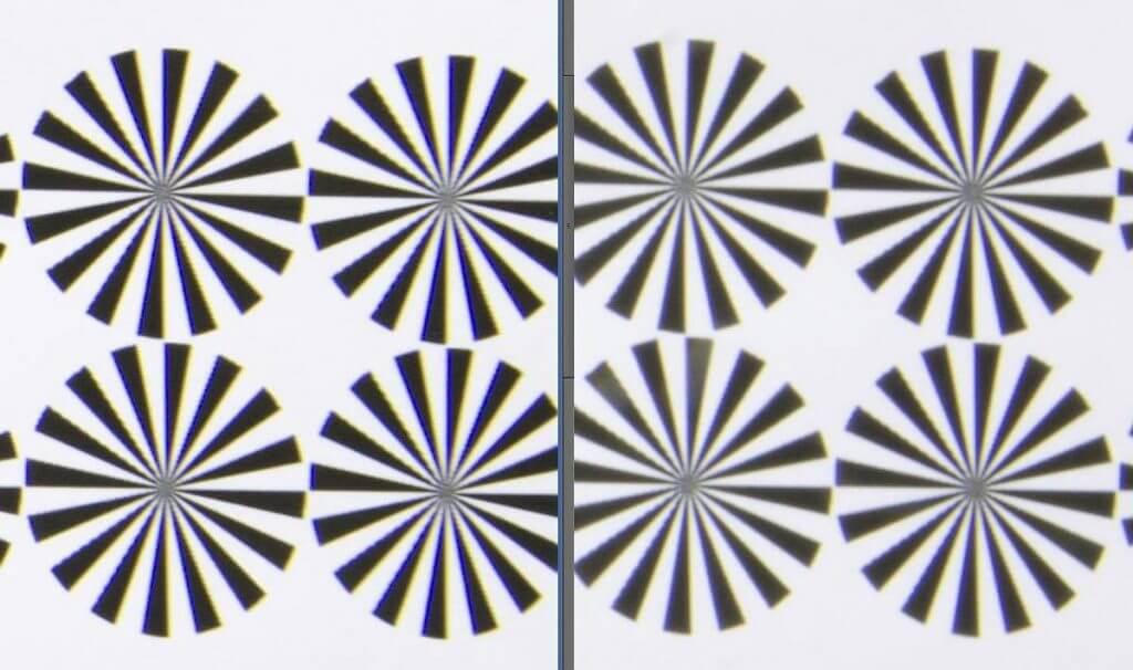 Beugungsunschärfe an Tokina 16mm bei f/22 (rechts) deutlich sichtbar (Randausschnitt vergrössert dargestellt). Links f/8.