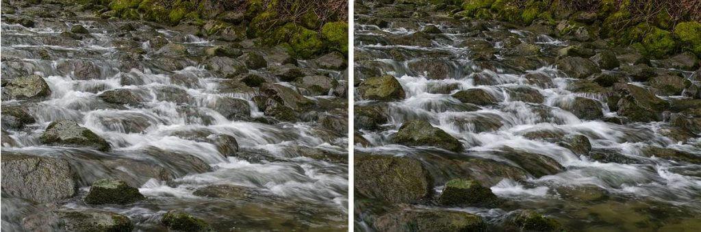 Langzeitbelichtung am Wasser - links ohne und rechts mit Polarisationsfilter