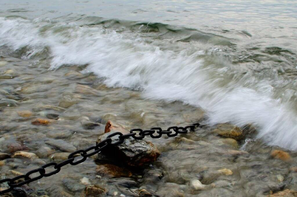 Neutralkarte Kette mit Wellen am Ufer