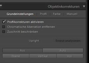 Objektivkorrektuern Lightroom