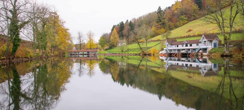 Spiegelung im Manneweiher in St. Gallen
