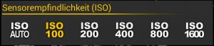 ISO-Einstellung im Camera App Camera FV-5