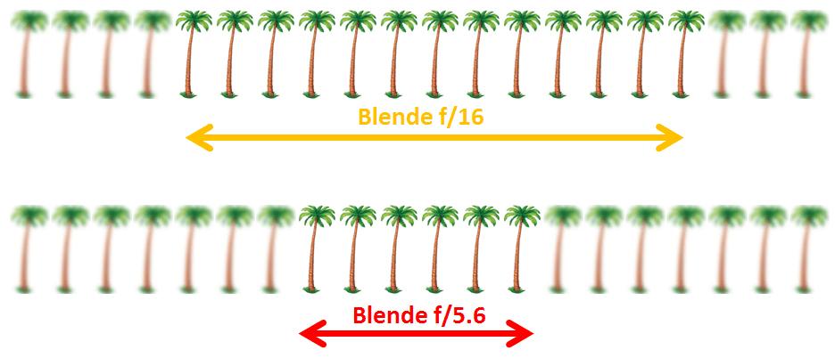 Grafik Schärfentiefe bei unterschiedlichen Blendenwerten