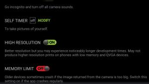 RetroCamera-App Einstellungen zur Auflösung