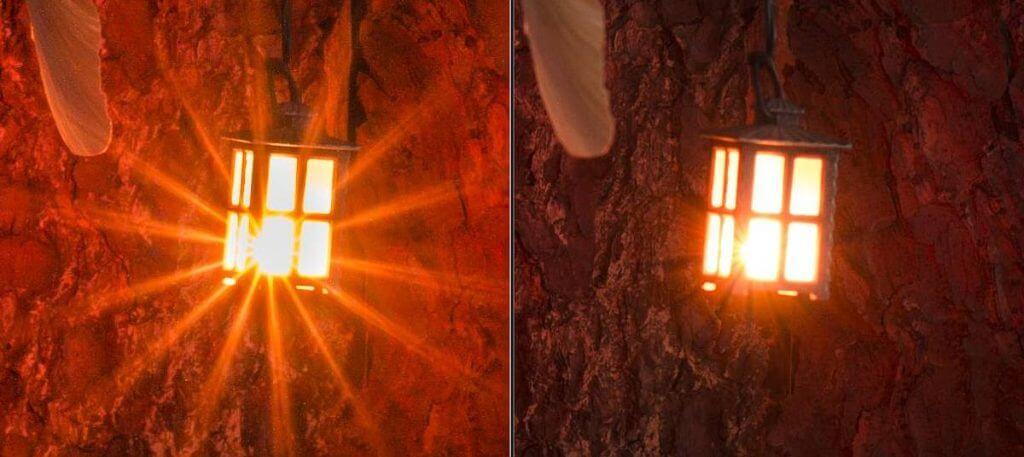 strahlenförmige Lichtquellen mit kleiner Blende