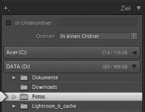 Importziel in Lightroom anben - digitaler Workflow