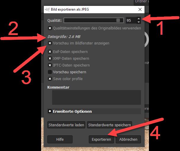 GIMP Kontrast und Helligkeit korrigieren