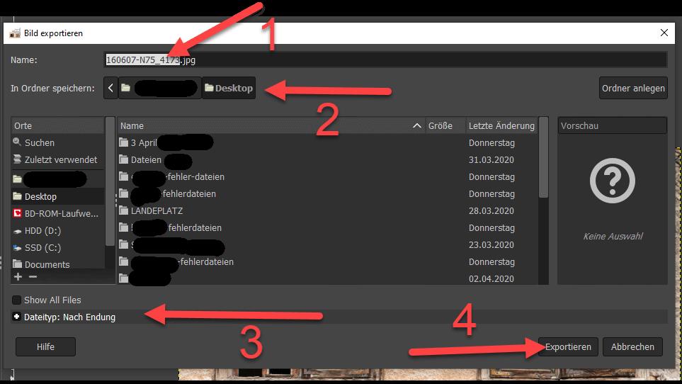 Datei in GIMP speichern