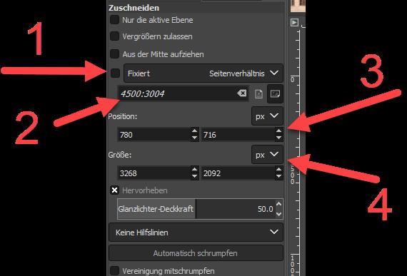 Werkzeugeinstellungen Zuschneiden in GIMP