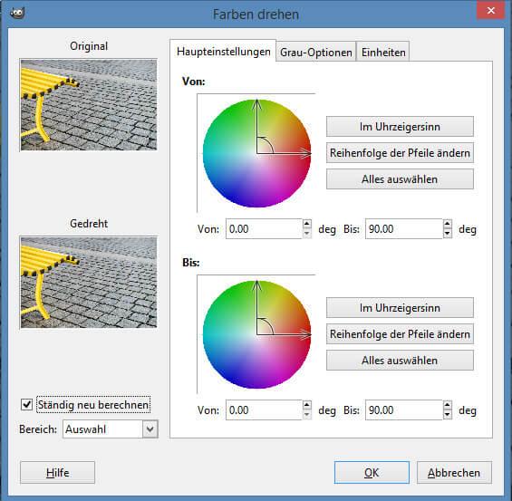 Dialogfeld Farben drehen in GIMP