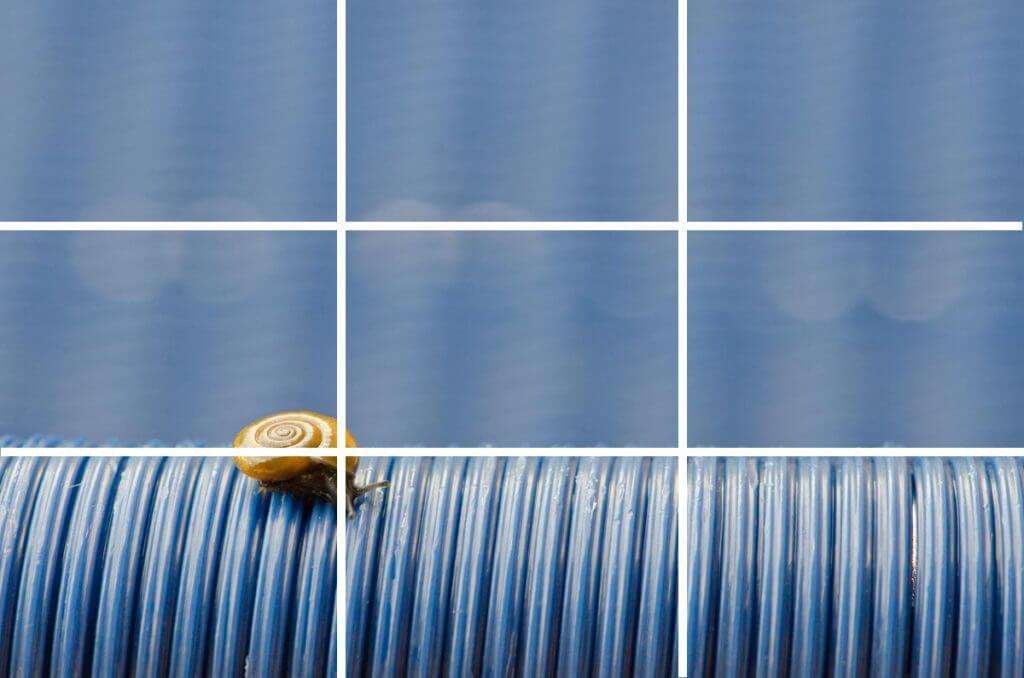 Drittelregel - Schnecke auf blauem Stuhl - Bildgestaltung und Bildwirkung