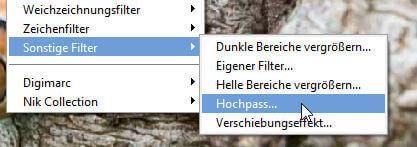 Filter - Hochpassfilter öffnen - Fotos mit Hochpassfilter schärfen