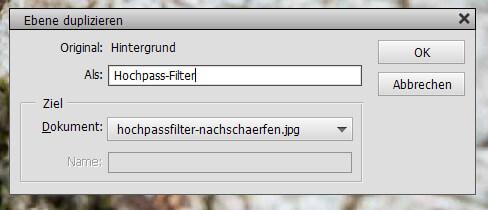Hochpass-Filter benennen