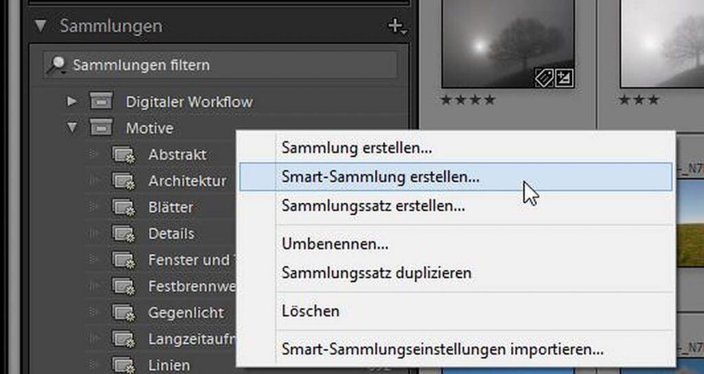 Smartsammlung in Lightroom erstellen