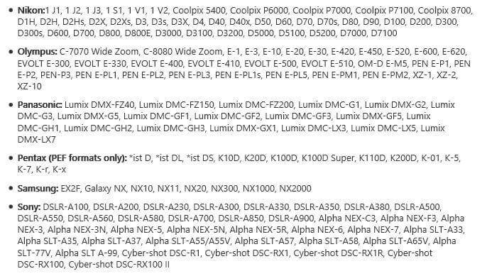 kompatible Kameramodelle - Microsoft Kamera Codec