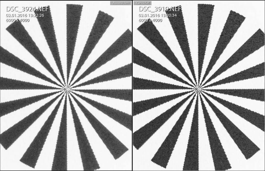 Sigma Makro 105mm f/2.8 - Vergleich f/27 zu f/5.6 - Beugungsunschärfe