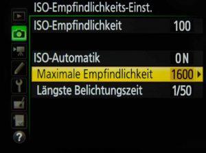 ISO Automatik-Werte definieren