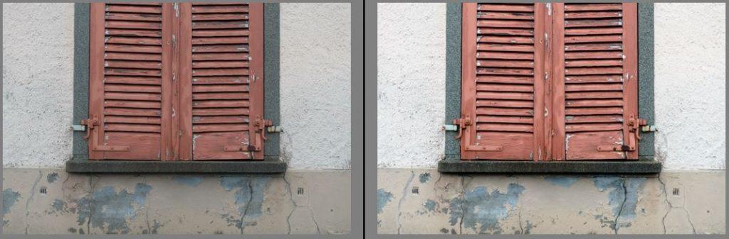 Vegleich Rohbild links und Tiefen/Lichter korrigiert rechts