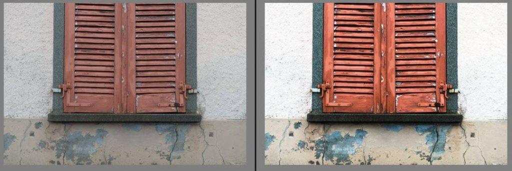 Zielkorrekturwerkzeug und Auswirkung auf Bild