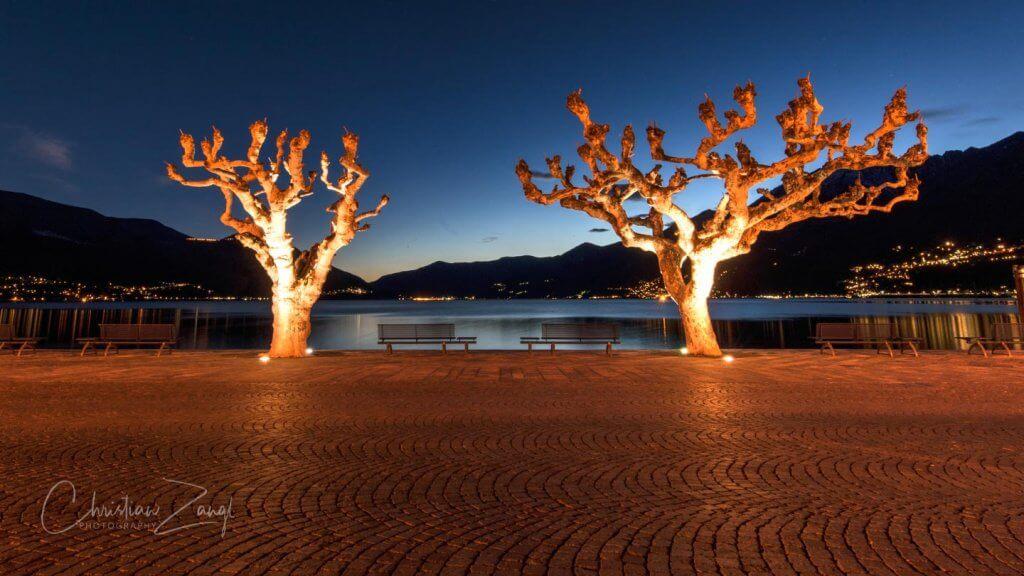 Langzeitaufnahmen Seepromenade in Ascona