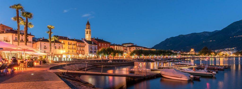 Nachtaufnahmen Ascona zur Blauen Stunde