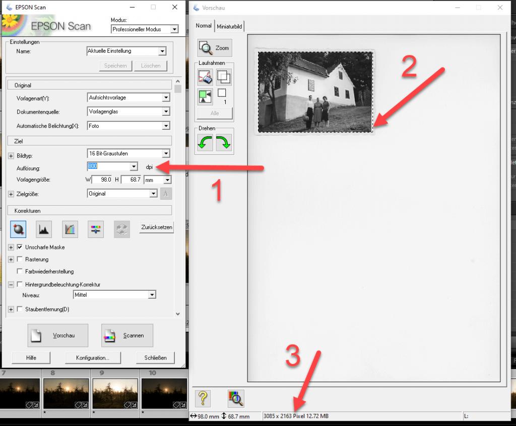 Scannereinstellungen Alte Bilder und Fotos einscannen