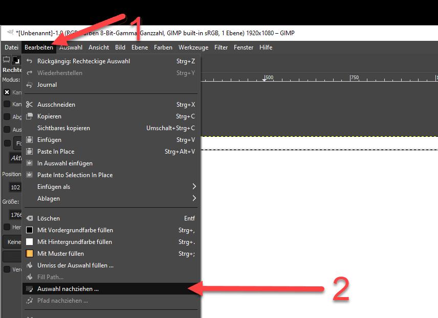 Linien und Rahmen zeichnen mit GIMP Auswahl nachziehen