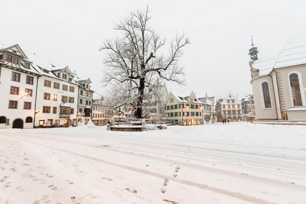 Fotografieren im Winter Gallusplatz St Gallen
