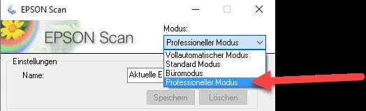 Epson Perfection V600 professioneller Modus