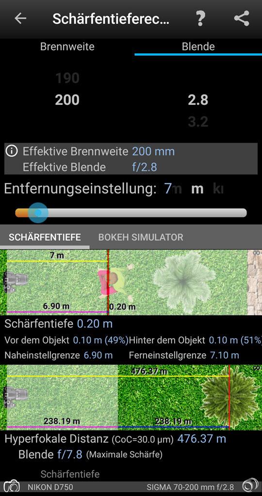 Schärfentieferechner Photgraphers companion