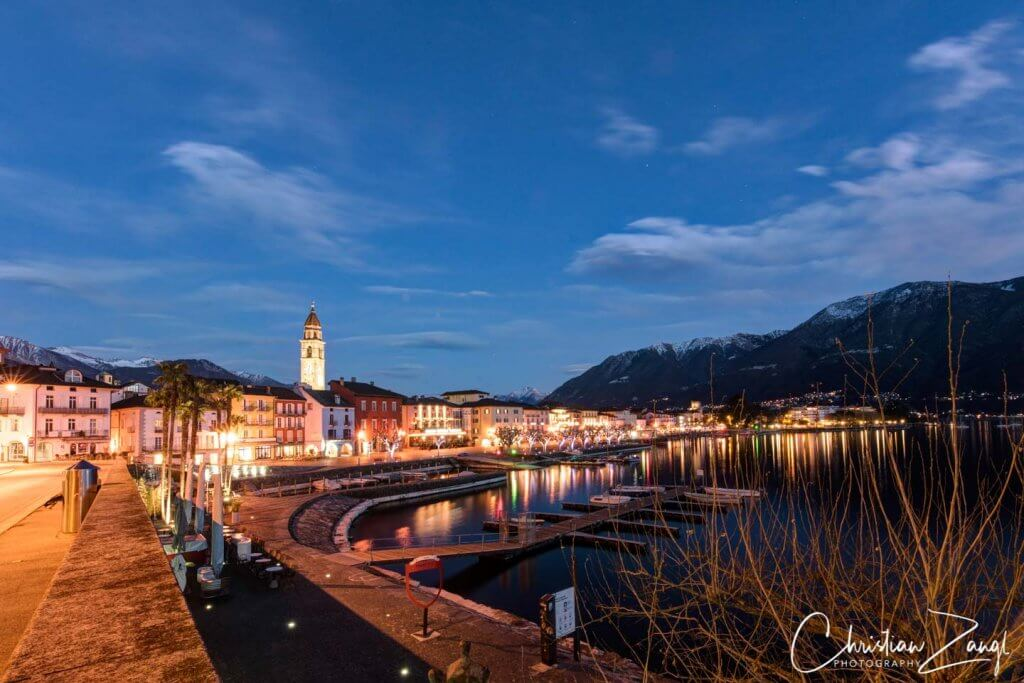 Ascona by night im Winter