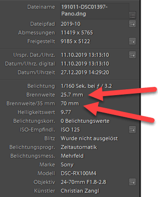 EXIF Daten in Lightroom