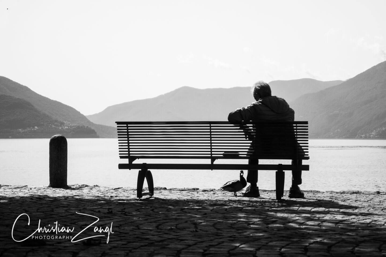 Schwarzweiss fotografieren Seepromenade Ascona