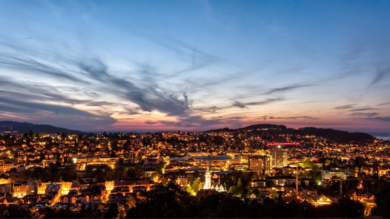 Nachtaufnahme St Gallen im Sommer