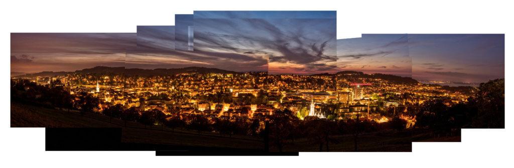 Panografie Abendstimmung St Gallen