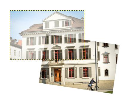 Panografie in GIMP zusammenstellen Transparent zur Deckung