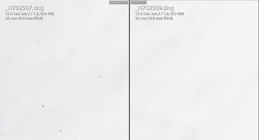 Sensorreinigung links vorher rechts nachher Trockenreinigung