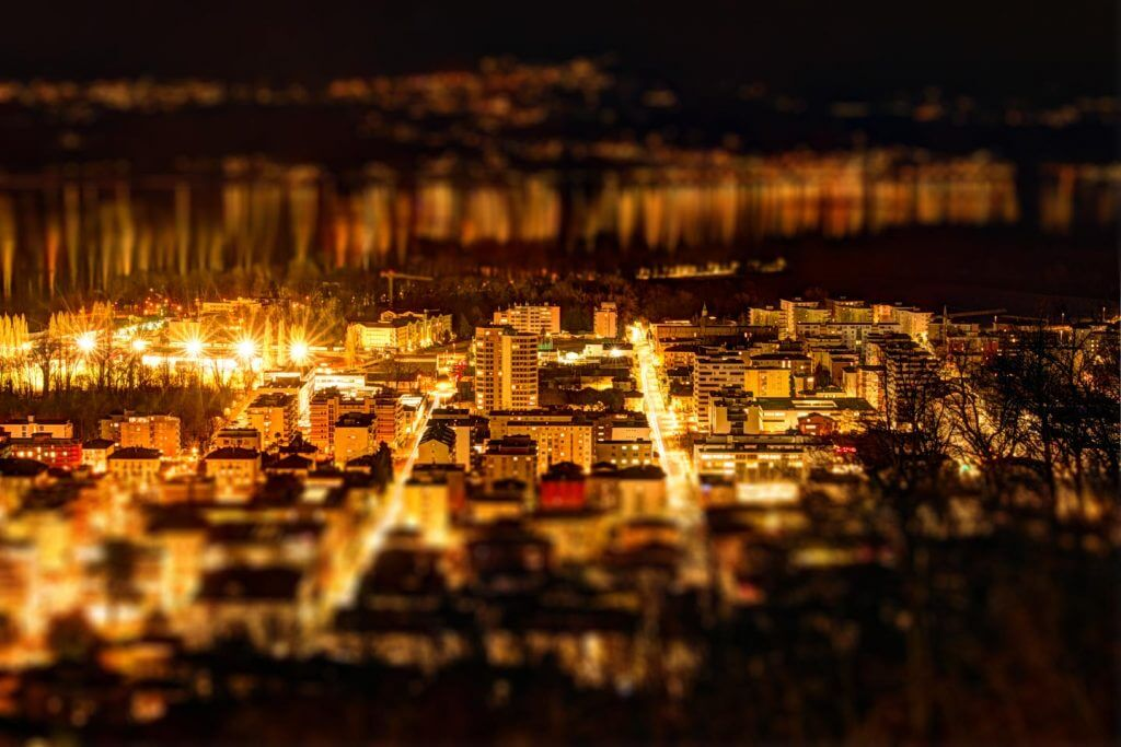 Tilt-Shift-Effekt Locarno by Night