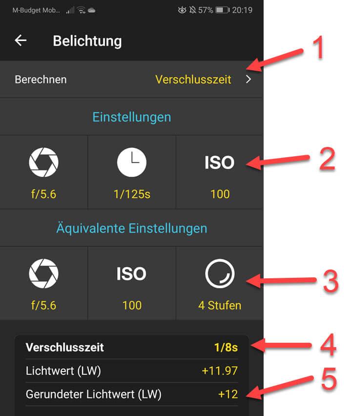 Belichtung berechnen PhotoPills App