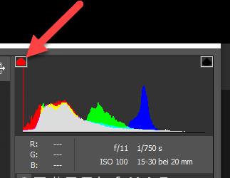 Camera RAW Histogramm mit Belichtungswarnung