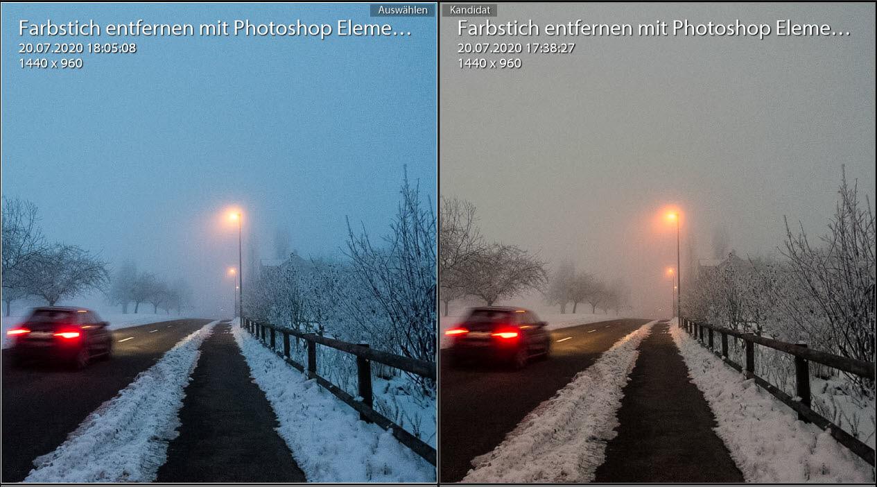 Farbstich entfernen mit Photoshop Elements Vergleiche