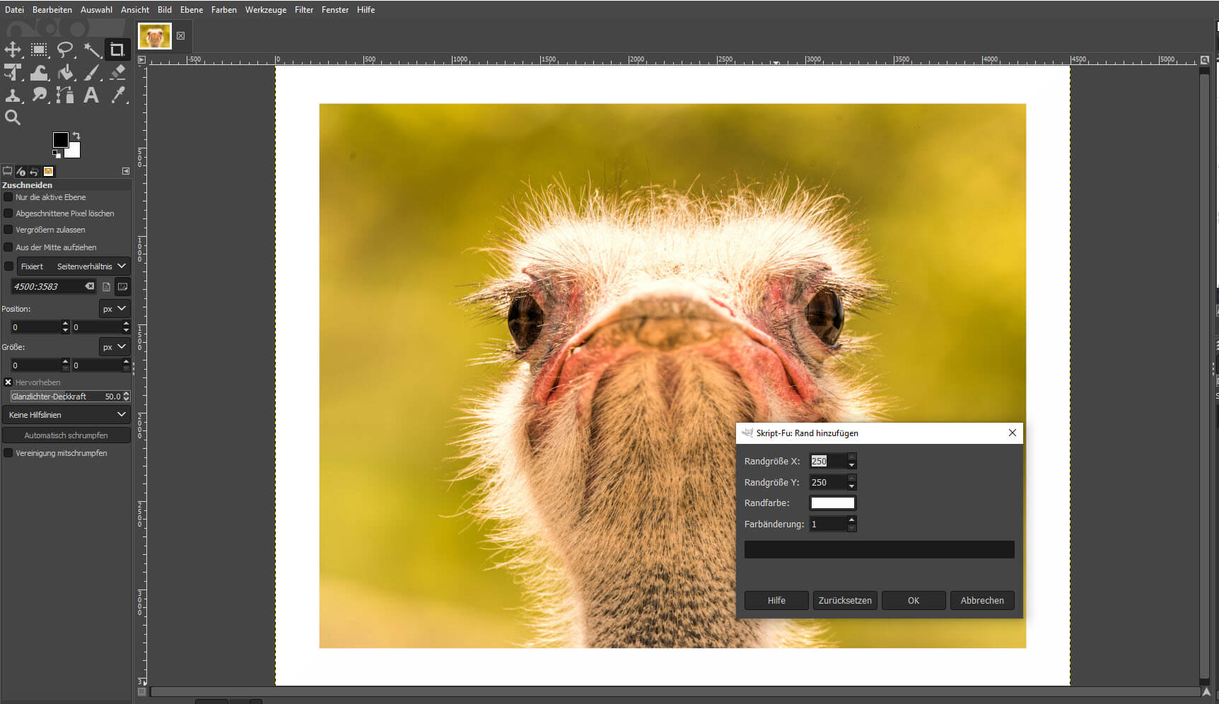 Rahmen um Bild erstellen in GIMP