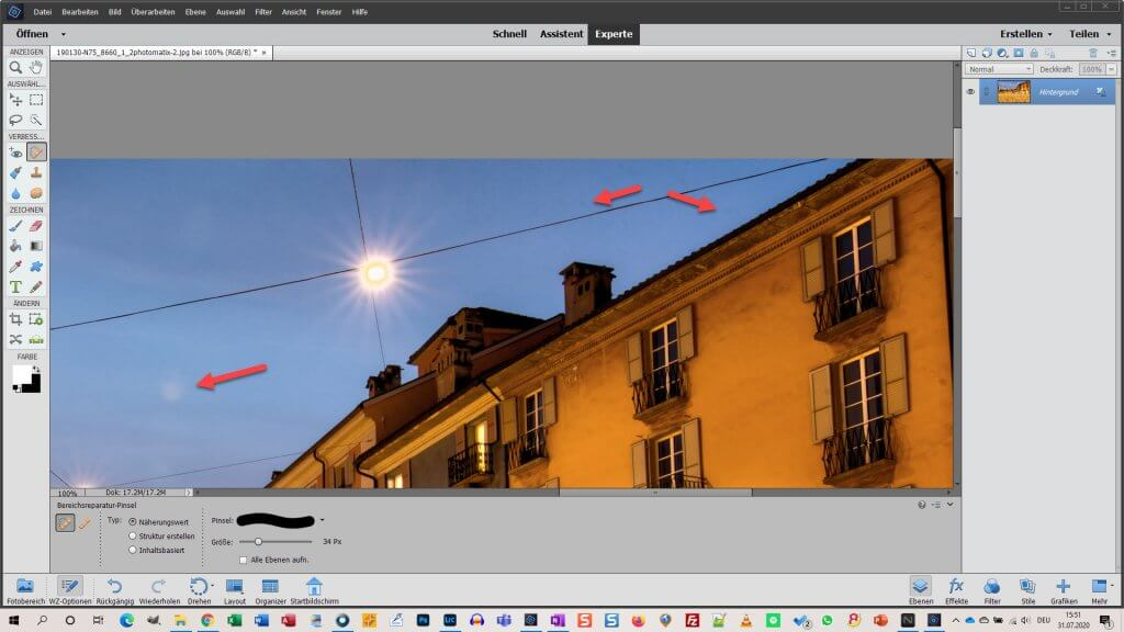 Sensorflecken entfernen mit Photoshop Elements
