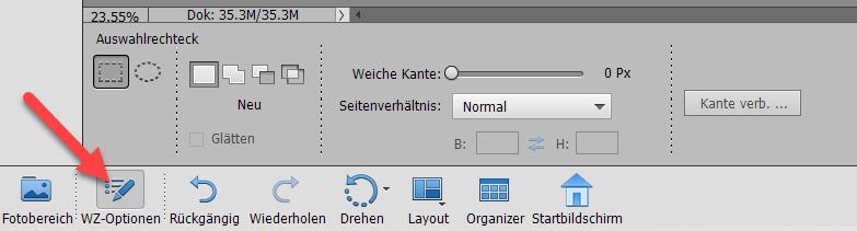 Werkzeug Optionen in Photoshop Elements