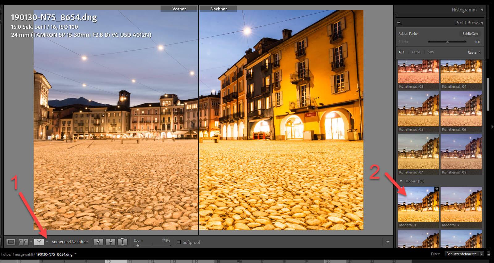 Profil Browser in Lightroom 3